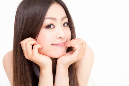 east asian: Smiling woman Stock Photo