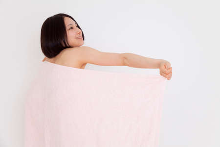 wrapped in a towel: Women wrapped a towel on the body