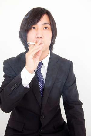 new recruit: Business people smoke cigarettes Stock Photo