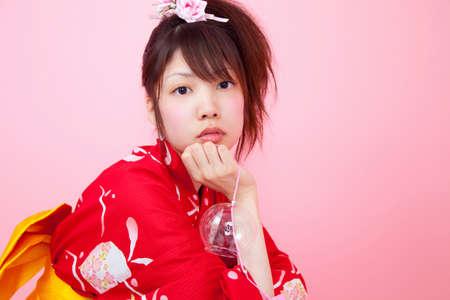 Women wearing red yukata photo