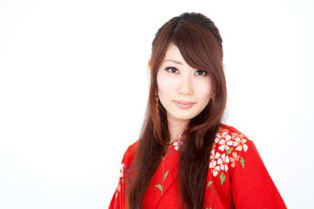 get dressed: Women wearing red yukata