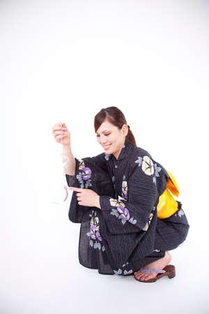 chime: Women yukata have a wind chime