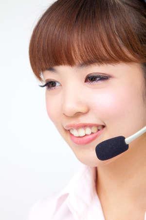 handsfree phones: OL wearing headset
