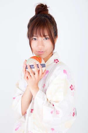 get dressed: Women dressed in yukata Stock Photo
