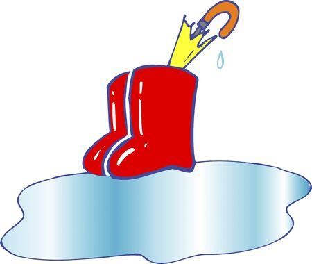 puddles: Rain gear Stock Photo