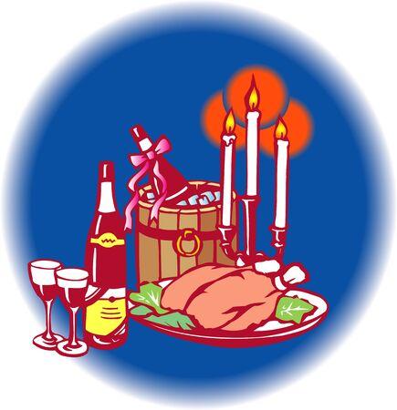 rice wine: Christmas party Stock Photo