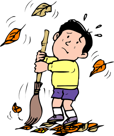 sweep: The sweep fallen leaves