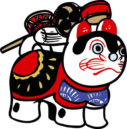 papiermache: Den-den daiko and papier-mache dog