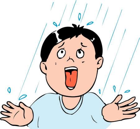 facial gestures: Rain Stock Photo