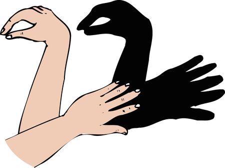 Swan shadow Stock Photo