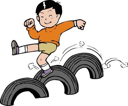 schoolyard: Jump tire Stock Photo