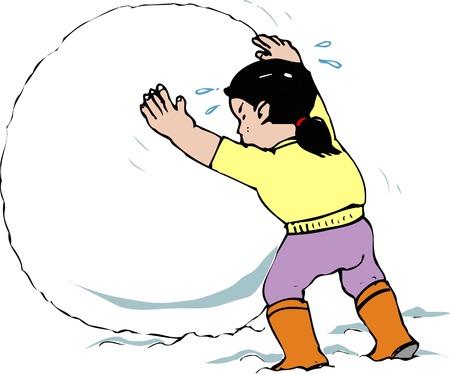 behaviours: Snowball making Stock Photo