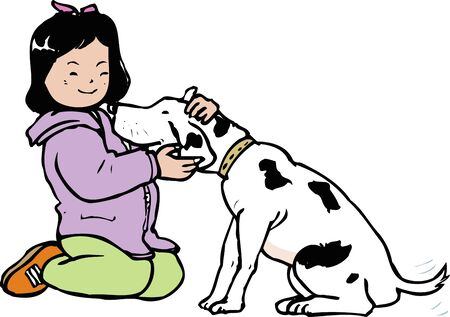 petting: And petting a dog Stock Photo