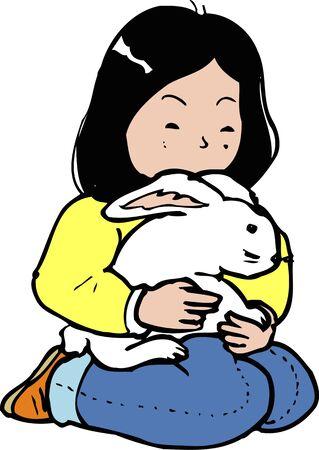 petting: Rabbit and petting