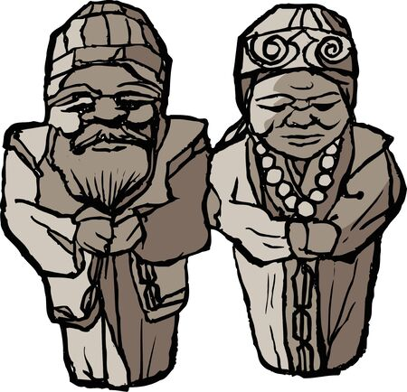 wood carving: Ainu wood carving Stock Photo