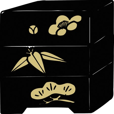 sho chiku bai: Sho Chiku Bai nest of boxes Stock Photo