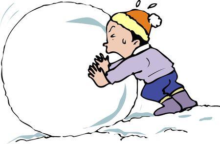 behaviour: Snowball making Stock Photo