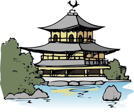 points of interest: Temple of the Golden Pavilion Stock Photo