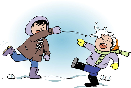 boule de neige: Snowball Fight Banque d'images