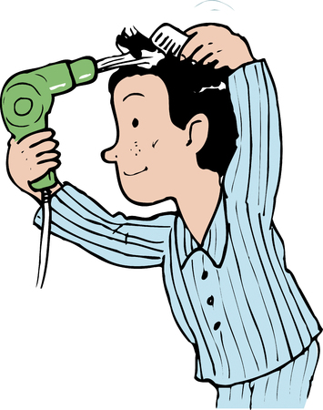 schoolwork: I comb my hair