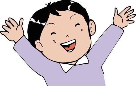 asian man smiling: Harikiri face Stock Photo