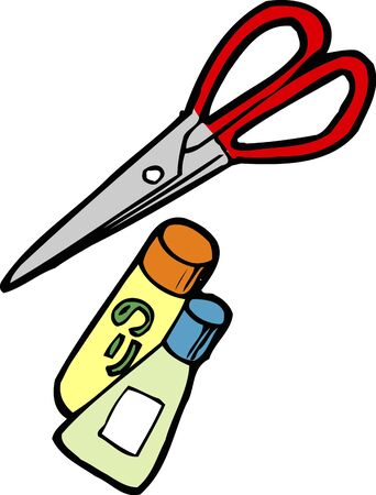 writing instrument: Scissors and glue