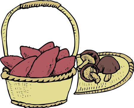 Shiitake mushrooms and sweet potato Stock Photo