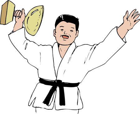 medalist: Judo gold medalist Stock Photo