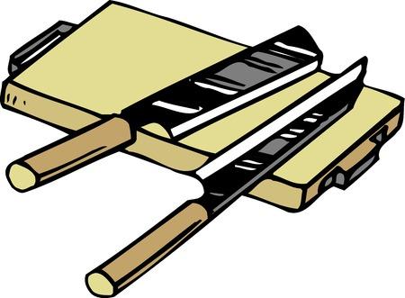 cutting board: Cutting board and knife Stock Photo
