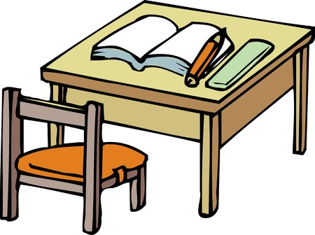 schoolwork: Desk and Chair
