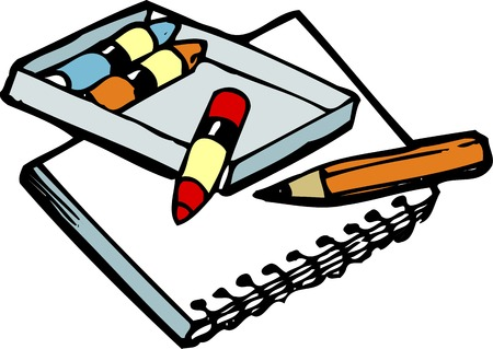 writing instrument: Crayon and sketchbook