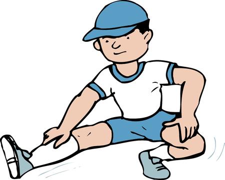 educacion fisica: Estiramiento de las piernas Foto de archivo
