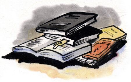 ink and wash: Fall reading Stock Photo