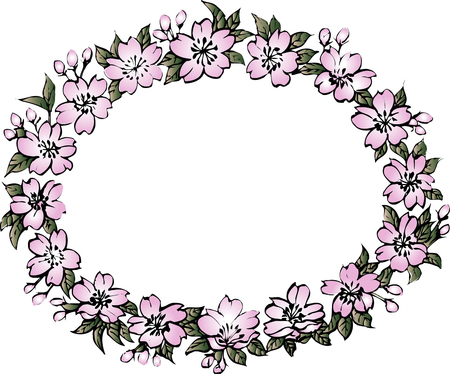 oblong: Oval ornament frame of the cherry