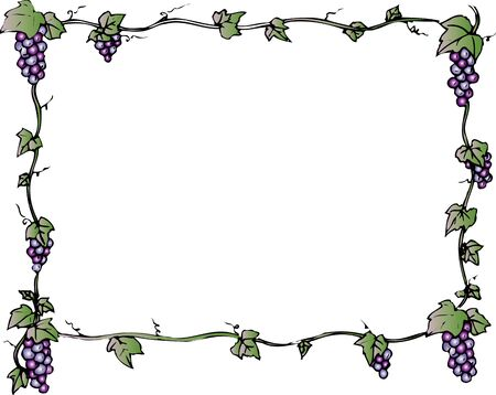 provisions: Square decoration frame of the grape Stock Photo