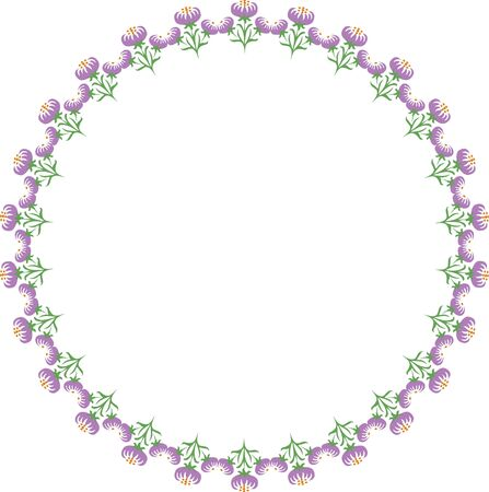 Circular border of flowers Stock Photo