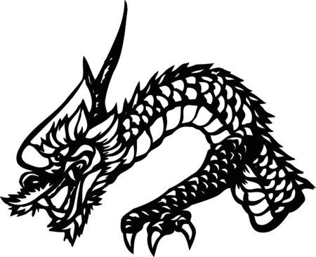 sideways: Dragon sideways half-length black-and-white Stock Photo