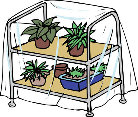 horticulture: Potted plant shelf