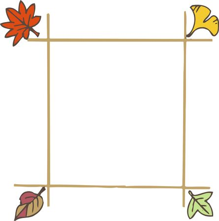 kindy: Frame of fallen leaves Stock Photo