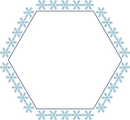 六角形の雪の結晶の装飾的なフレーム 写真素材
