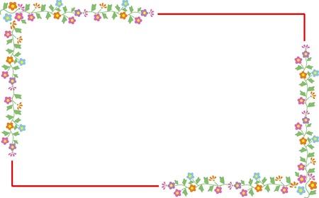 長方形の飾り枠の花