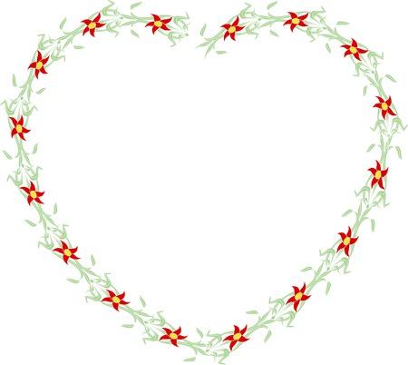 flower heart: Flower Heart shape ornament frame Stock Photo