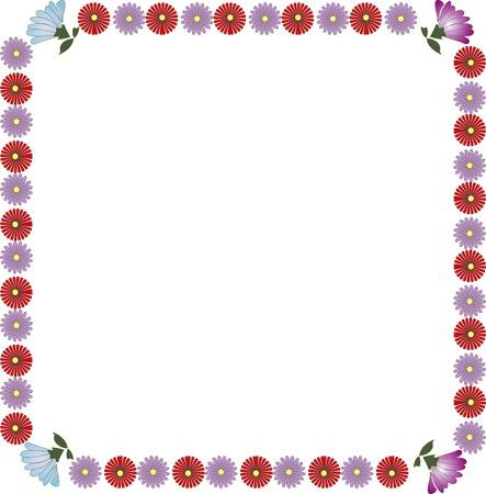 菊の丸みを帯びた正方形の飾り枠
