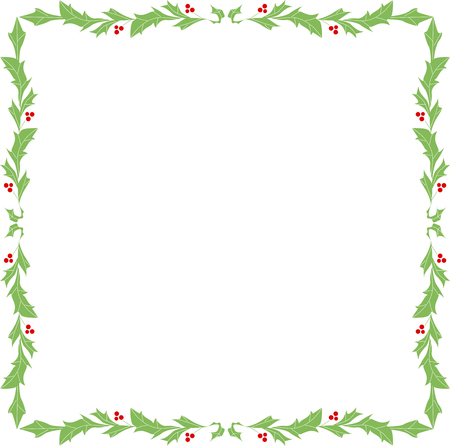 rounded: Rounded square ornament frame of holly