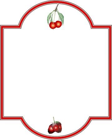 decorative frame: Decorative frame of cherry and strawberry