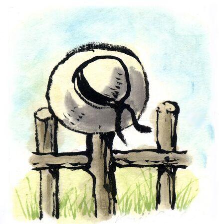 pastures: Straw Hat Stock Photo