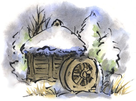 ink and wash: Watermill
