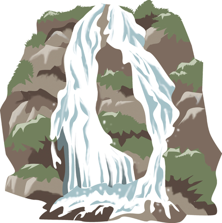 mountain stream: Two twin waterfall Stock Photo