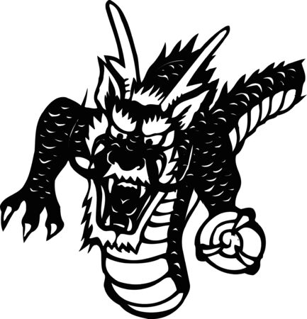 frontal: Dragon frontal half-length black-and-white Stock Photo