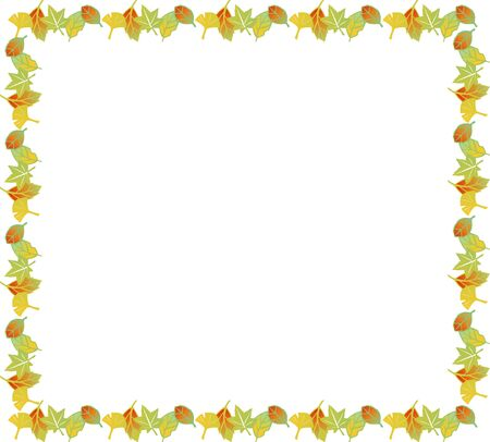 fallen leaves: Rectangular picture frame of fallen leaves Stock Photo